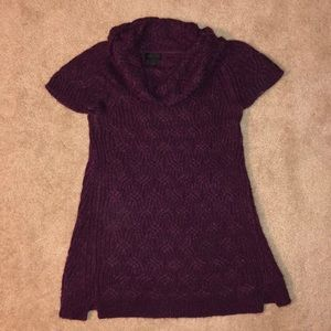 Purple cable knit cowl neck sweater